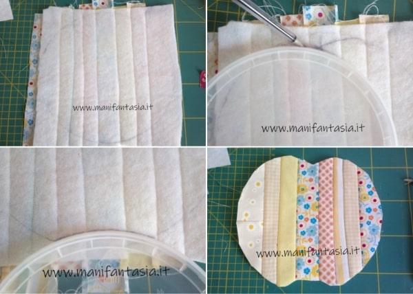 presine patchwork con ritagli di stoffa mela
