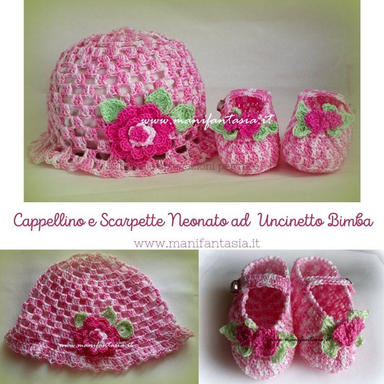 cappellino e scarpette neonato ad uncinetto per bimba