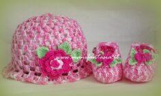 cappellino e scarpette neonato uncinetto bimba
