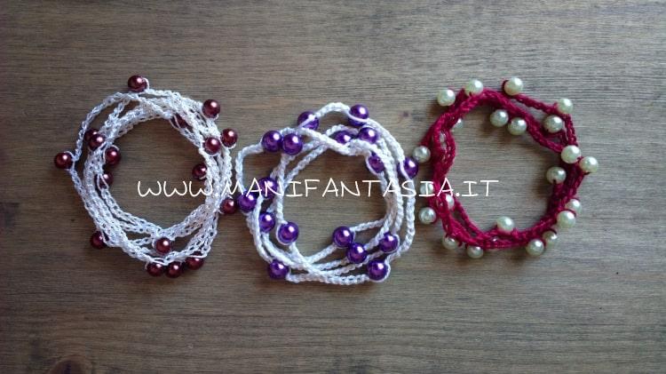 collane e bracciali uncinetto con perle