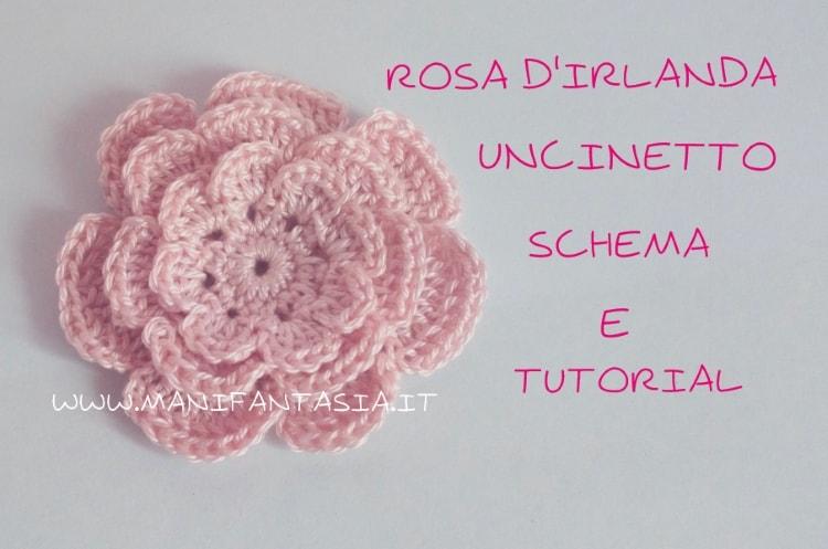 rosa d'irlanda ad uncinetto schema e tutorial