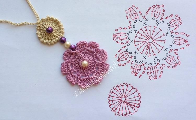 schema collana uncinetto con fiore e perle