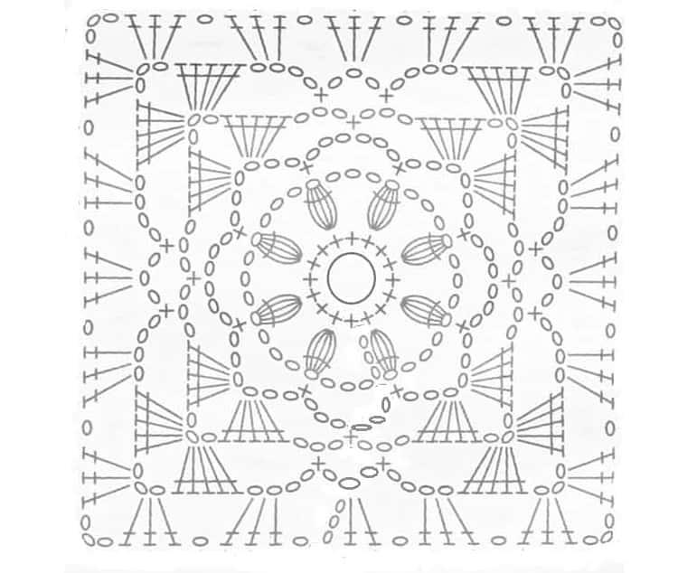 schema sacchetto porta confetti uncinetto quadrato