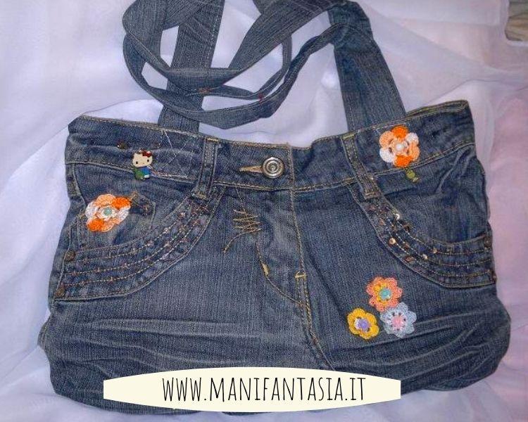 Borsa di stoffa con vecchi jeans