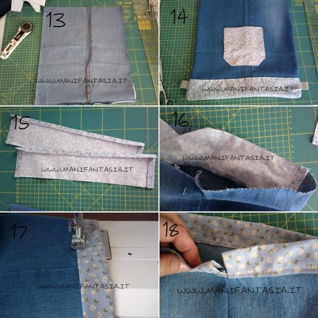 come fare una sacca zaino con vecchi jeans