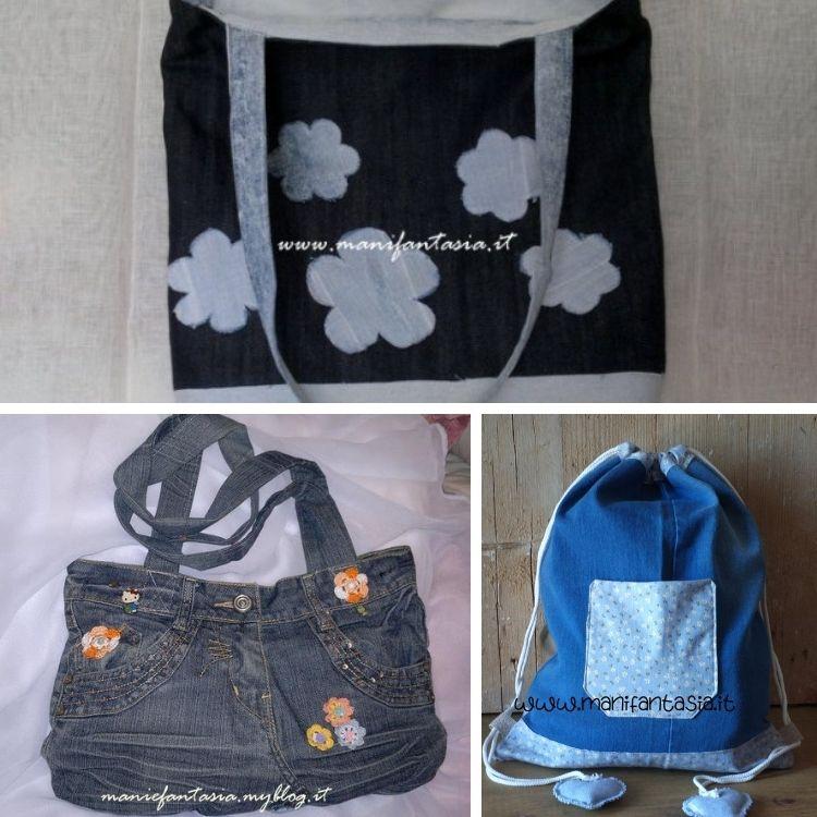 idee per riciclare i jeans borse