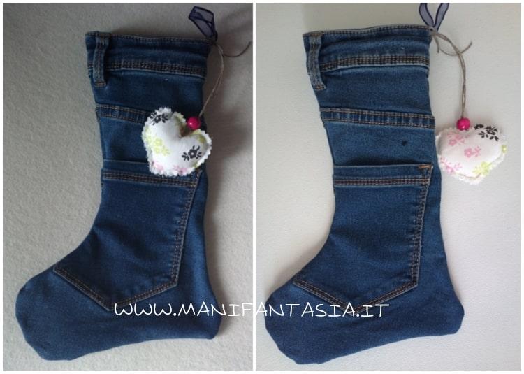 calza della befana realizzata con vecchi jeans