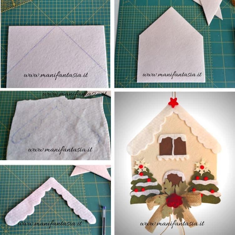 casetta in feltro natalizia tutorial