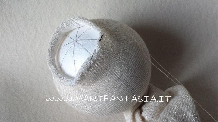 palline natalizie con il tubolare di maglina tutorial step 1