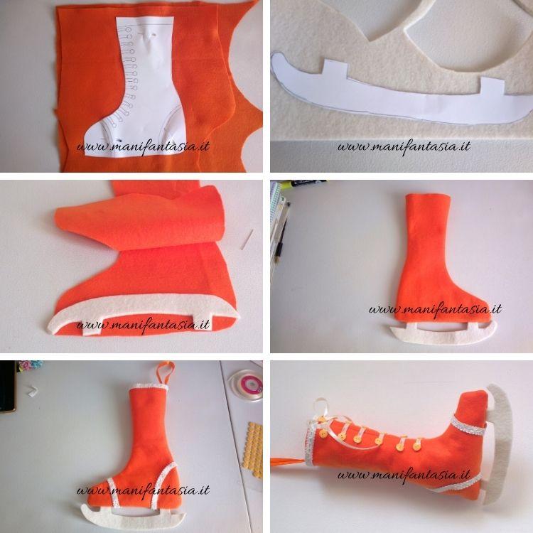 calza della befana a forma di pattino tutorial