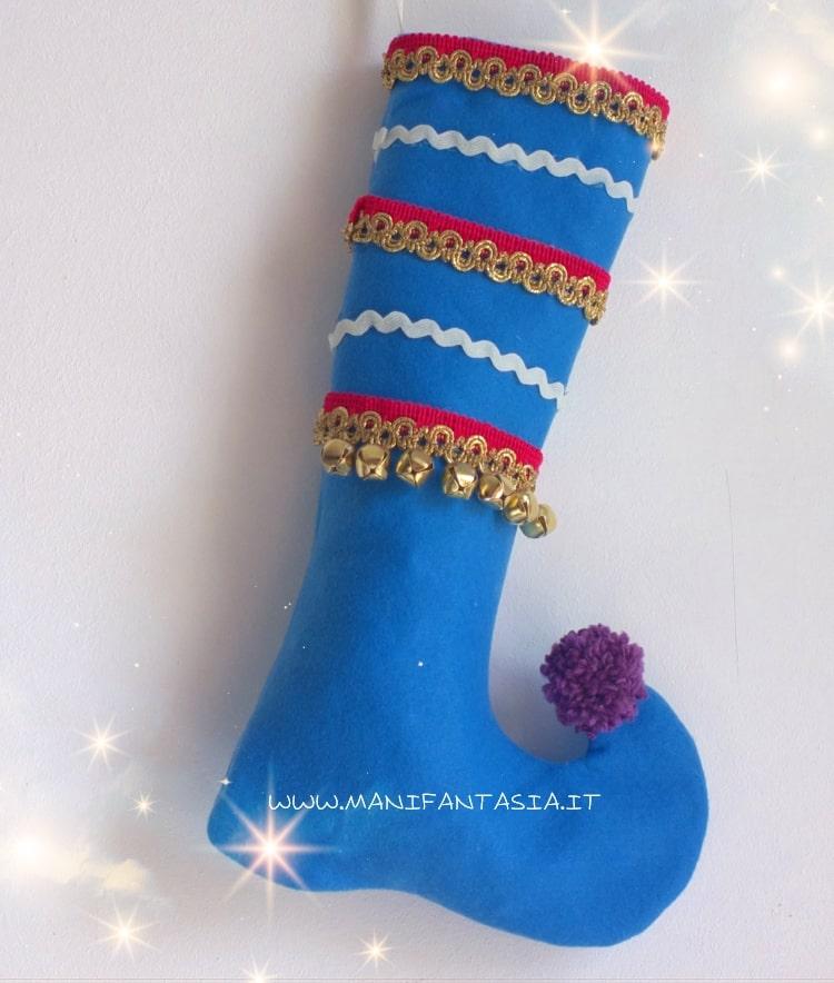 calza della befana elfo fatta a mano