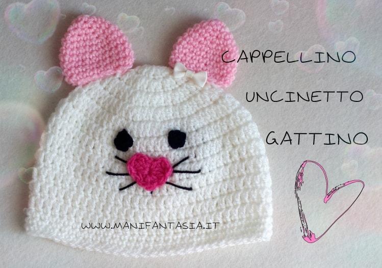 cappellino uncinetto gattino spiegazioni