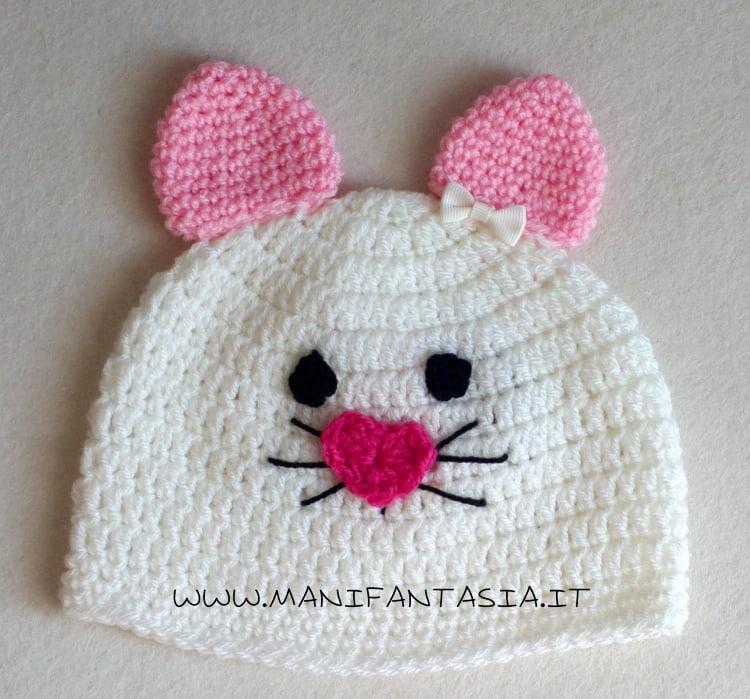 cappellino uncinetto gattino