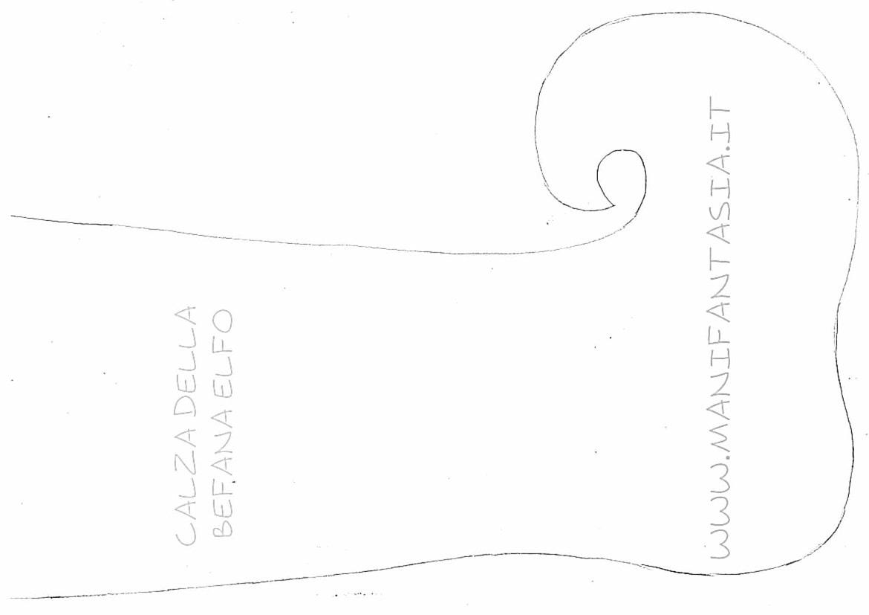 cartamodello calza della befana elfo