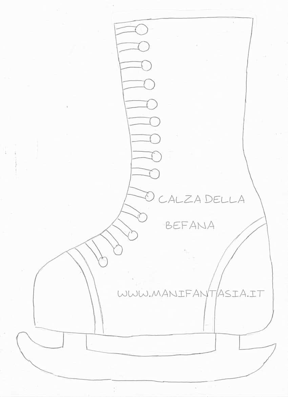 cartamodello calza della befana pattino