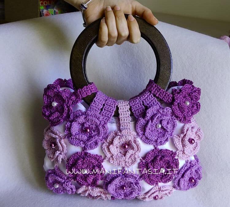 borsa uncinetto con fiori tutorial