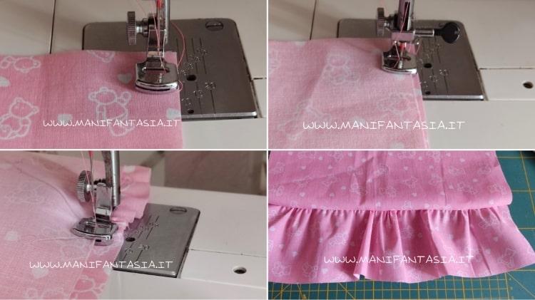 cucire una stoffa arricciata ad una dritta
