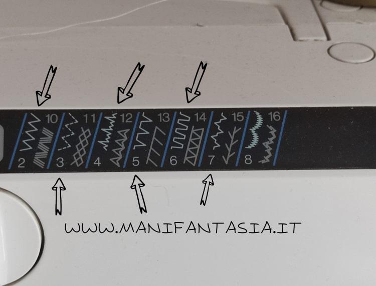 punti zig zag decorativi per il piedino per cordoncino