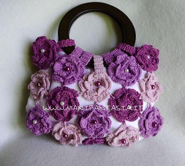 tutorial e spiegazioni per fare la borsa uncinetto con fiori