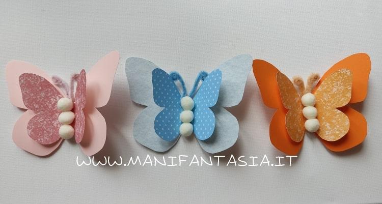come fare le farfalle di carta e cartoncino colorato