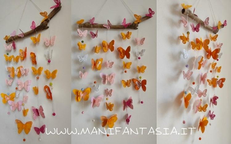 farfalle di carta da appendere fatte a mano