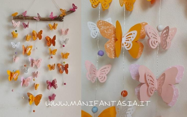 farfalle di cartoncino da appendere al filo
