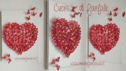 quadretto cuore con farfalle di carta 3d