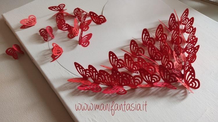quadro con farfalle di carta tutorial