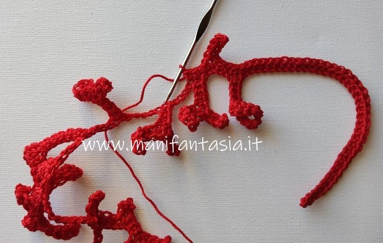 collana corallo uncinetto maglia bassa