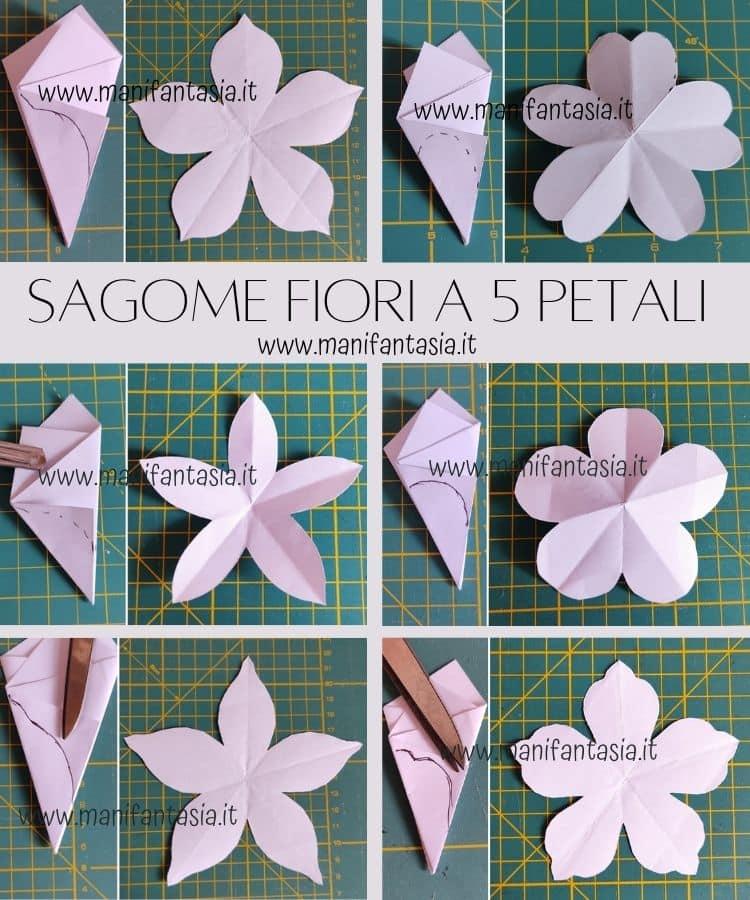 come fare una sagoma per fiori di carta 5 petali