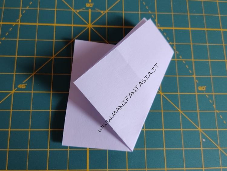 come piegare la carta modello base 5 petali step 4