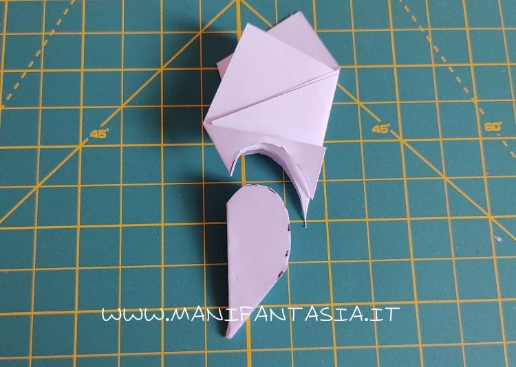 come piegare la carta modello base 5 petali step 8