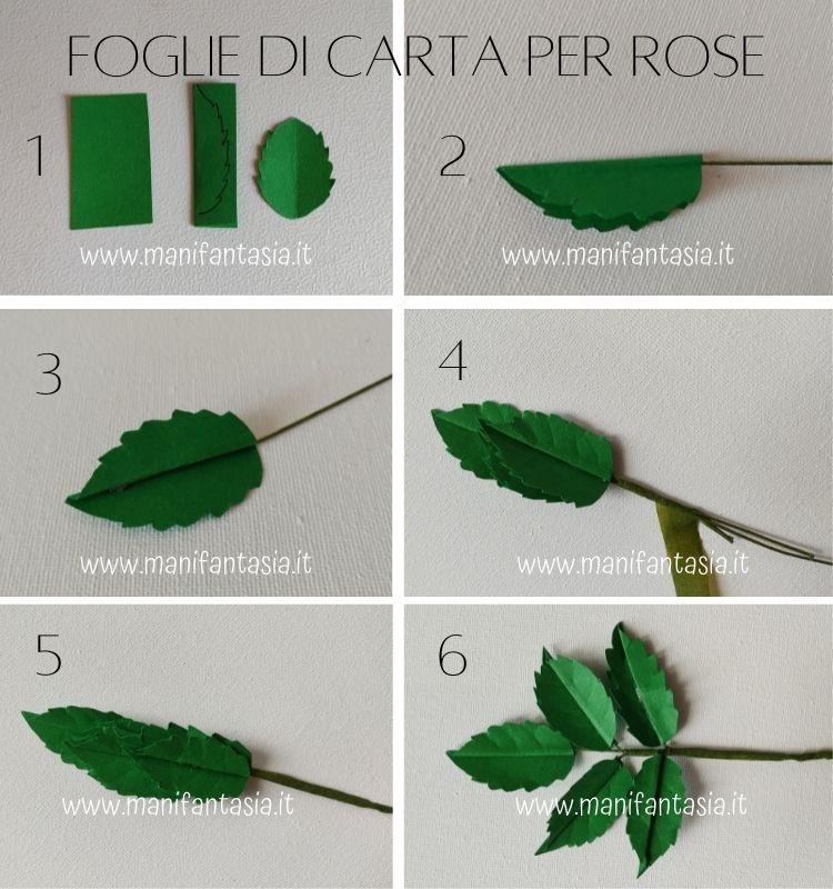 foglie di carta per rose