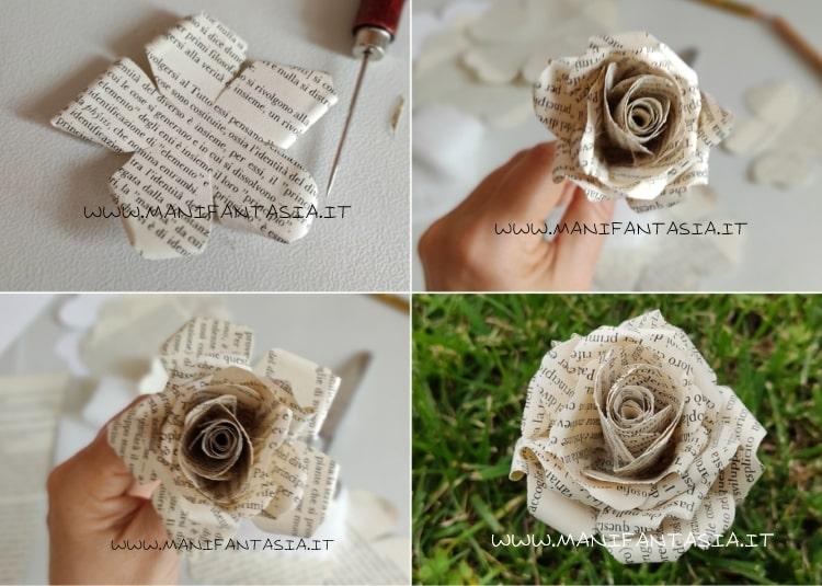 realizzare rose con carta di vecchio libro-tutorial