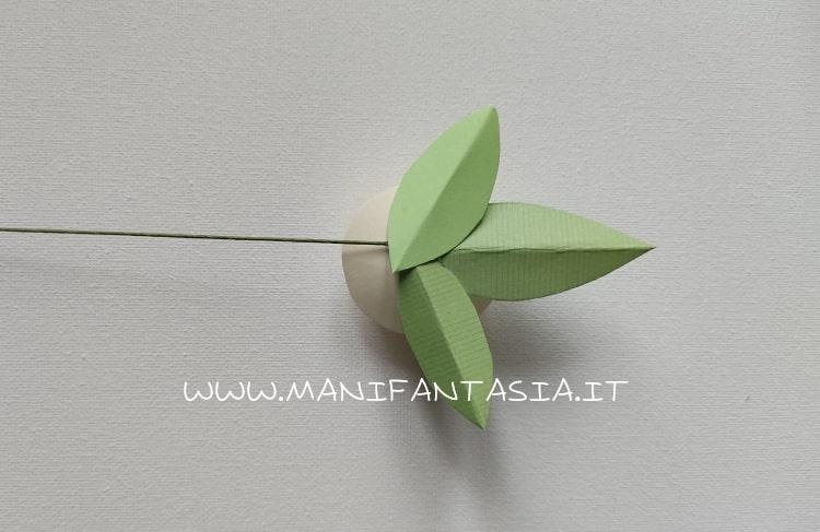 rose di carta a spirale con gambo