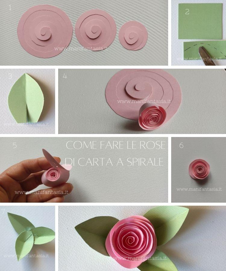rose di carta a spirale tutorial
