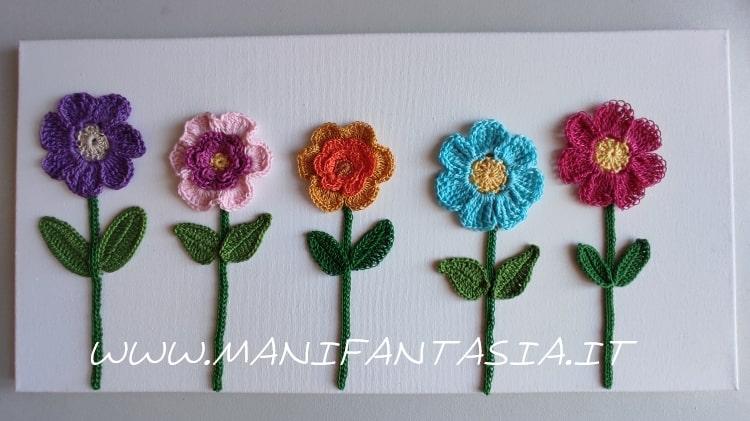 tela con fiori uncinetto tutorial