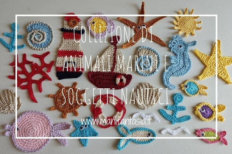 collezione di animali marini e soggetti nautici ad uncinetto
