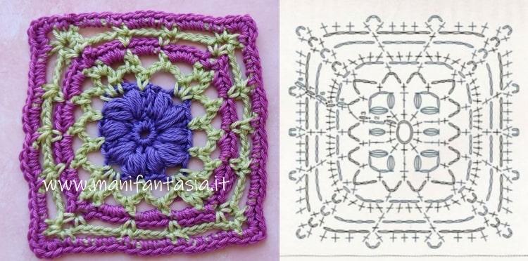 mattonella uncinetto con fiore a punto noccioline allungate schema
