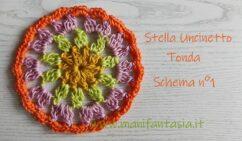 piastrella uncinetto rotonda con gruppi di maglie alte colorate