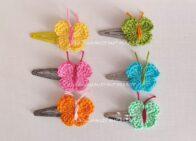 mollette decorate con farfalline ad uncinetto schema