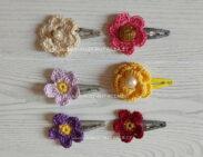 mollette decorate con fiori uncinetto