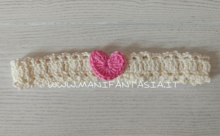 fascia capelli neonata cuoricino rosa