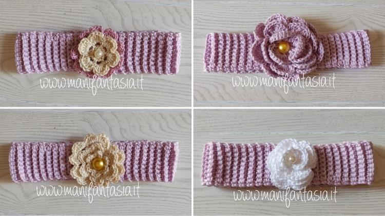fascia per capelli ad uncinetto per neonata e bimba