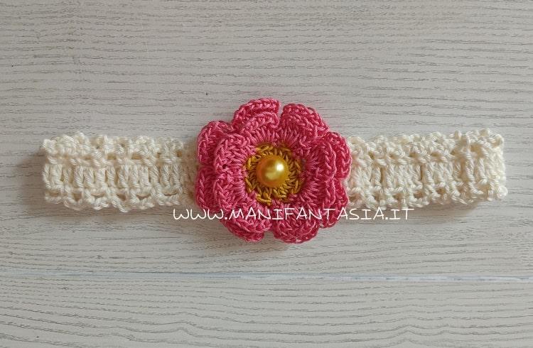 fascia per capelli neonata fiore con bottone