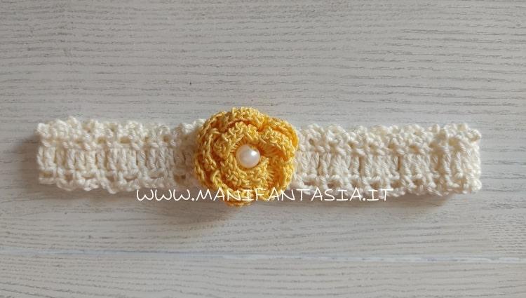 fascia uncinetto per capelli neonata rosa gialla