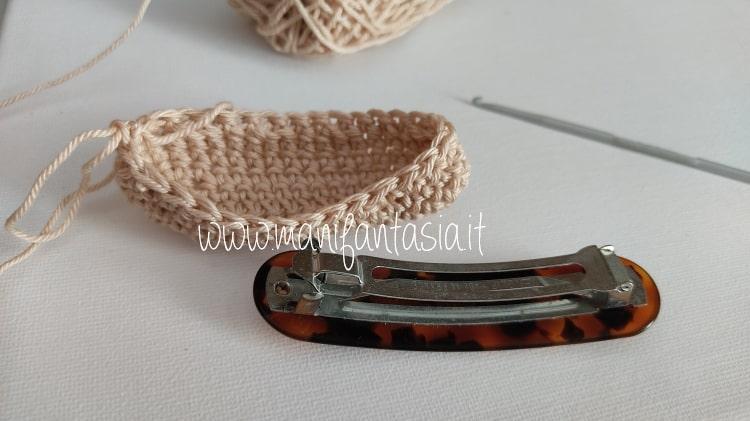 fermacapelli ad uncinetto- continuare a maglia bassa