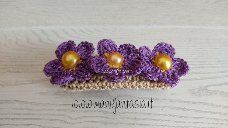 fermacapelli con fiori uncinetto schema