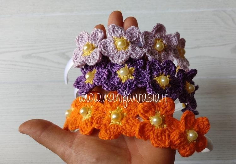 fiori uncinetto facili per cerchietti fai da te