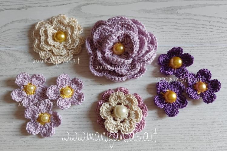 fiori uncinetto per decorare cerchietti per capelli